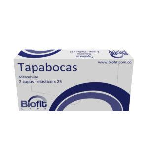TAPABOCAS DOBLE TELA BLANCO CON RESORTE X 25 UNDS